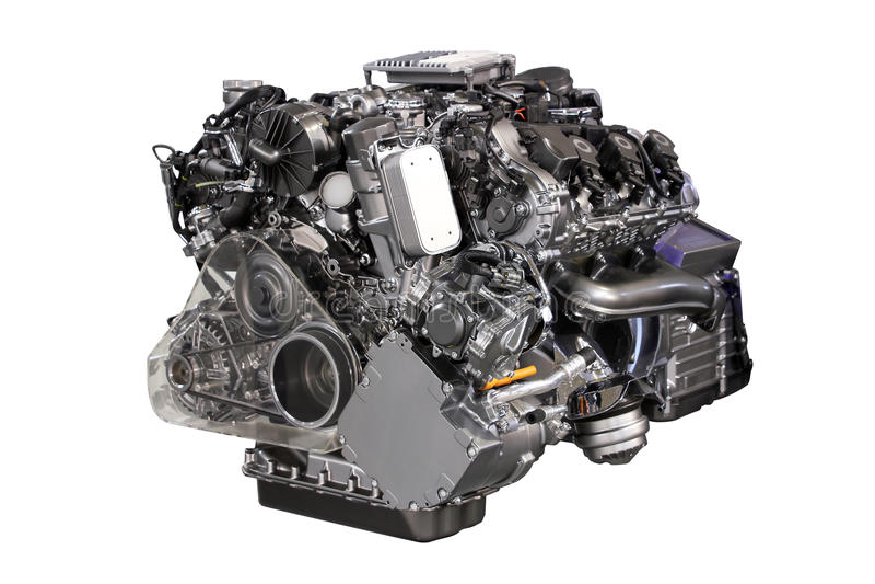 Motore ibrido dell'automobile V6 isolato fotografia stock libera da diritti