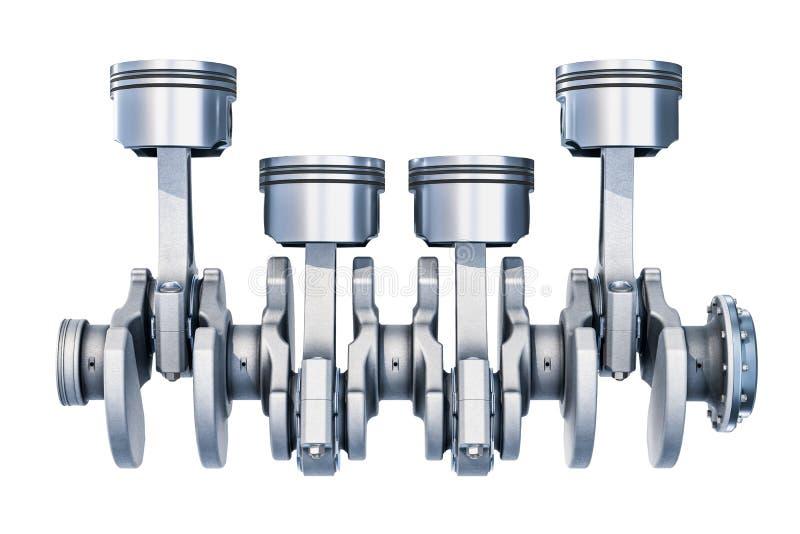 Motore in linea-quattro, vista laterale rappresentazione 3d illustrazione vettoriale