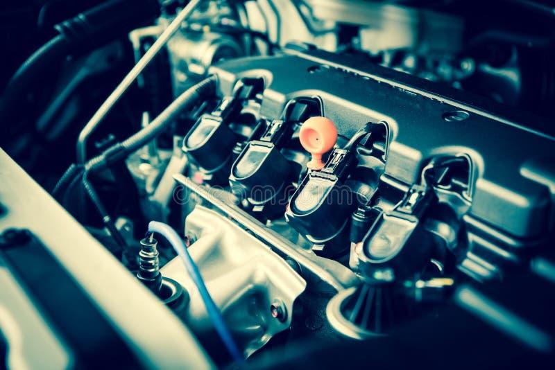 Motore potente di un'automobile Progettazione interna del motore immagini stock libere da diritti