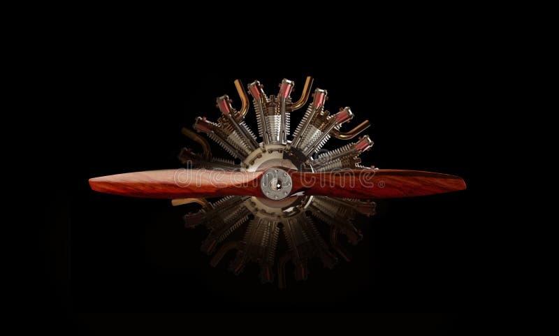 Motore radiale dell'aeroplano con un'elica royalty illustrazione gratis
