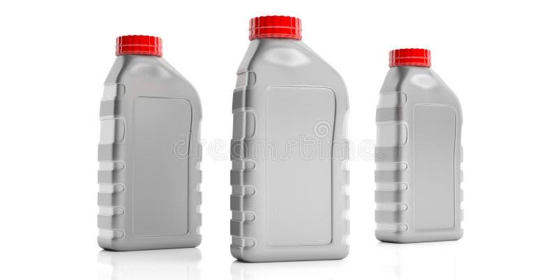 Motorenölflaschen kein Aufkleber lokalisiert gegen weißen Hintergrund Abbildung 3D stock abbildung