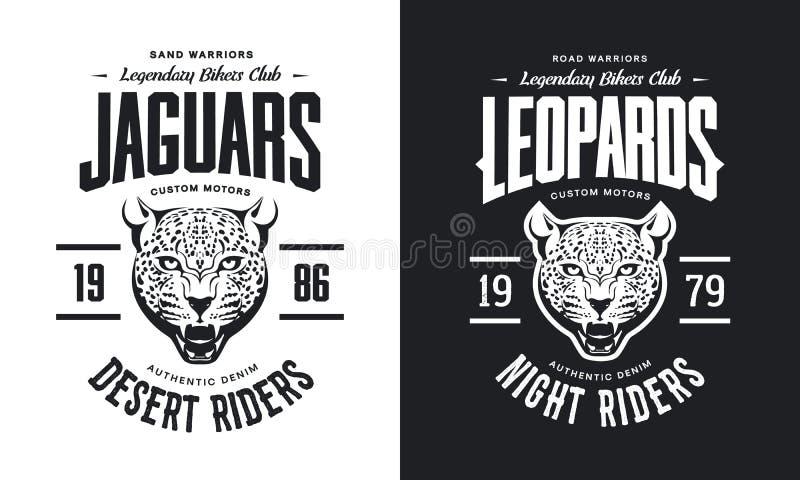 Motorer för rasande leopard för tappning klubbar beställnings- t-skjorta svartvit isolerad vektorlogo stock illustrationer