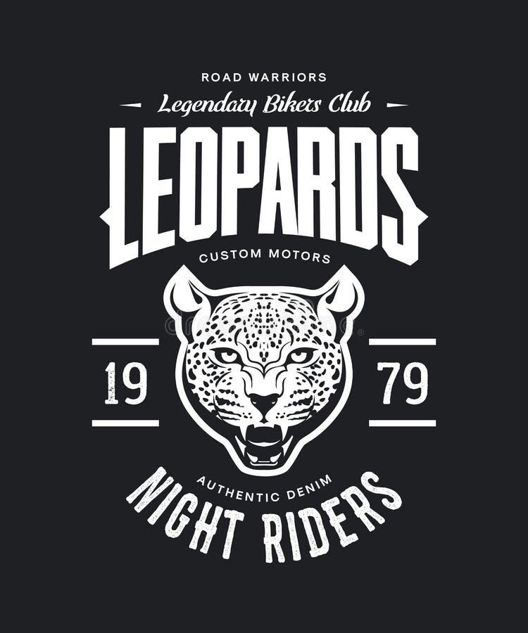 Motorer för rasande leopard för tappning klubbar beställnings- t-skjorta vektorlogo på mörk bakgrund royaltyfri illustrationer