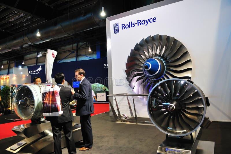 Motores de rolls royce em Singapore Airshow imagens de stock