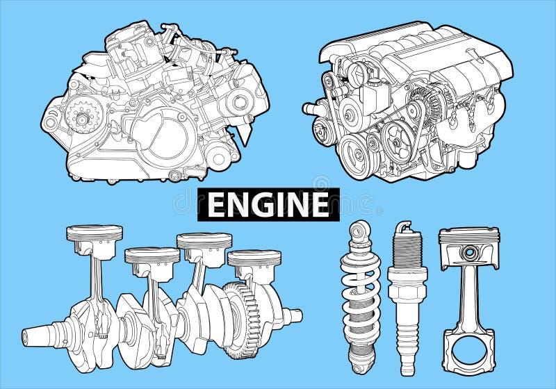 Motores del vector stock de ilustración