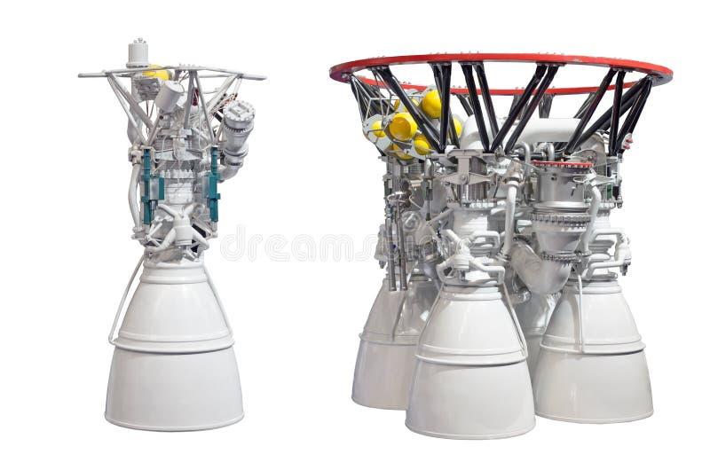 Motores espaciales, motor con dos bocas y motor con cuatro bocas aislado en el backgroung blanco imagen de archivo libre de regalías