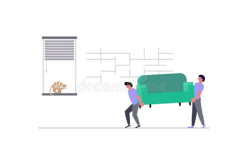 Motores que cuidan un sofá y las cajas de cartón libre illustration