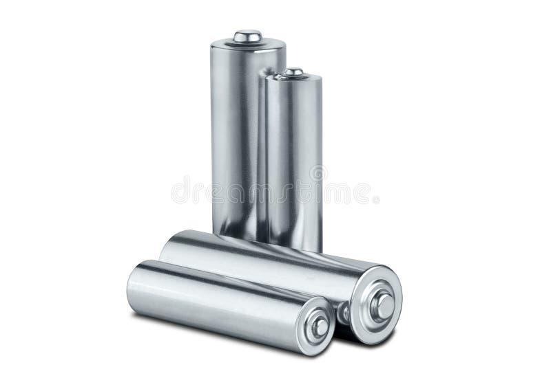 motorförbundetformatbatterier på vit isolerad bakgrund Begrepp av förnybara energikällor och källor av elström Modell för formgiv royaltyfria foton