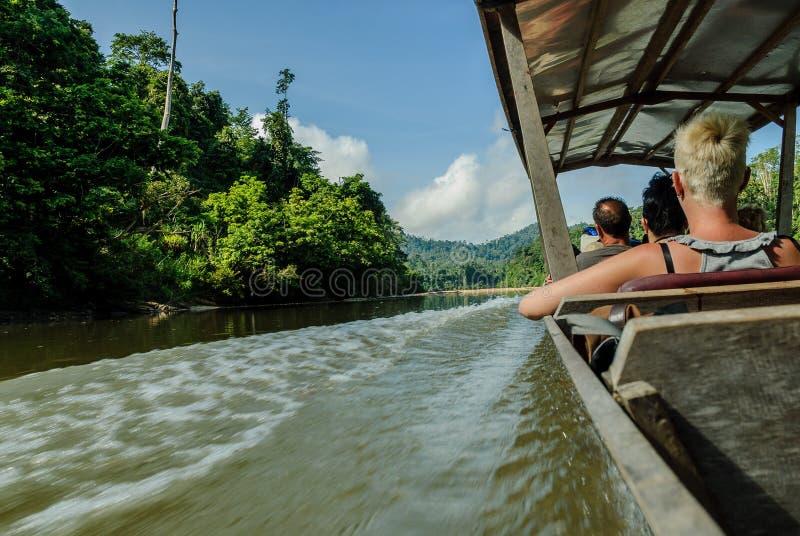 Motorfartyg i floden Sungai Tembeling inom skogen Taman Negara i Malaysia arkivbilder