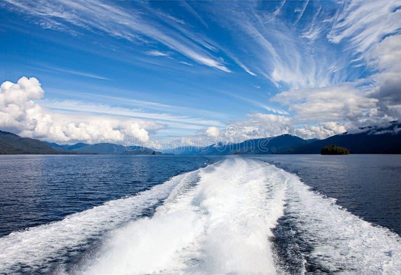 MotorfartygTrail i lugnat havvatten royaltyfria bilder
