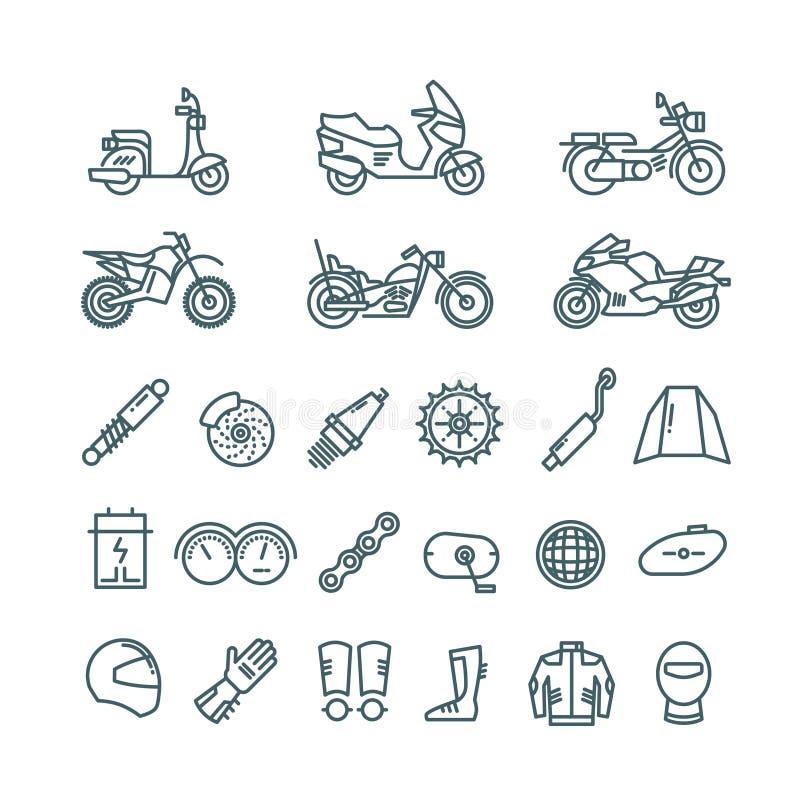 Motorfiets, autodelen en vector de lijnpictogrammen van motortoebehoren vector illustratie