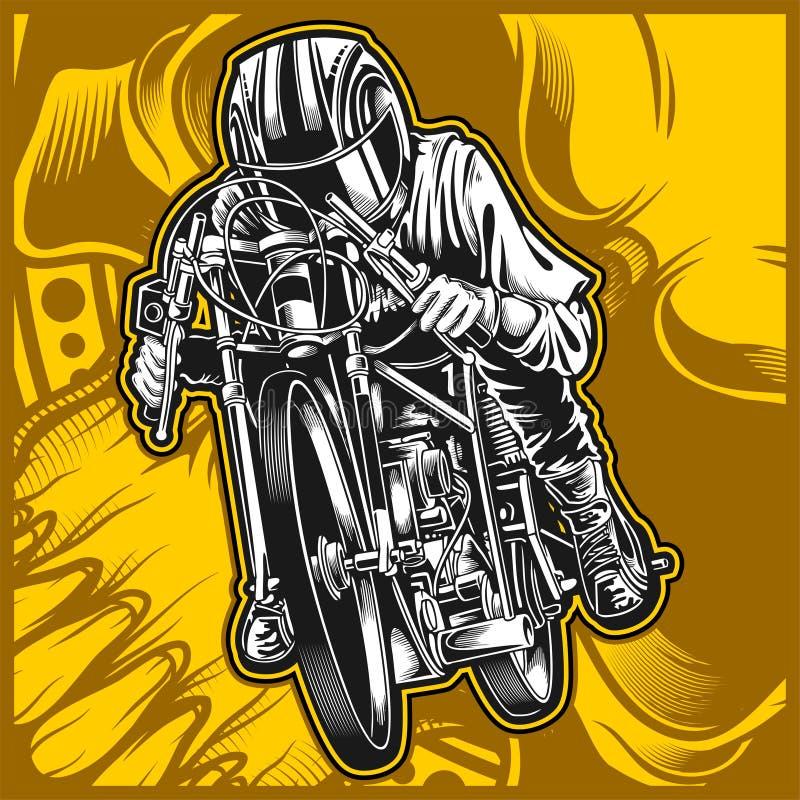 Motorfiets die vectorhandtekening rennen stock illustratie