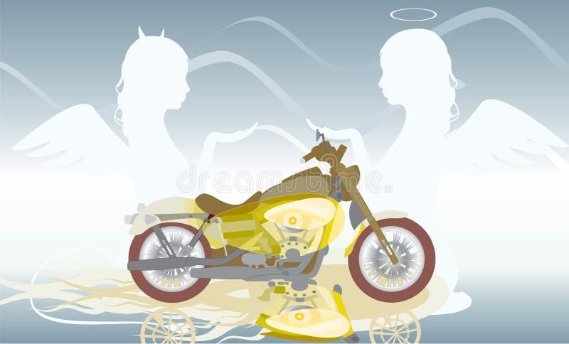Motorfiets en twee engelen vector illustratie