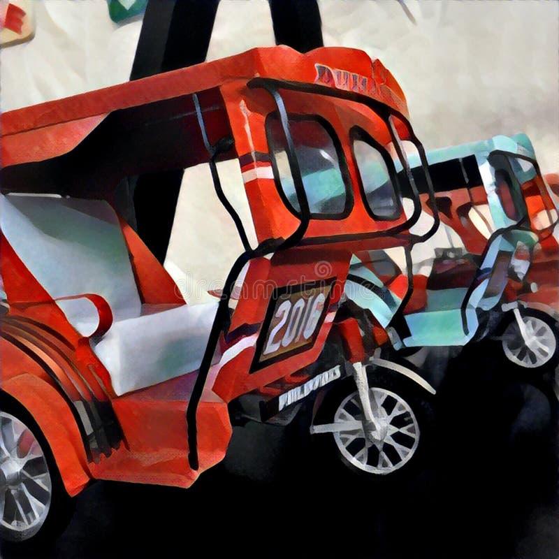 Motorfiets met busstuk speelgoed Traditioneel Aziatisch vervoer - tuktuk, of driewieler stock illustratie