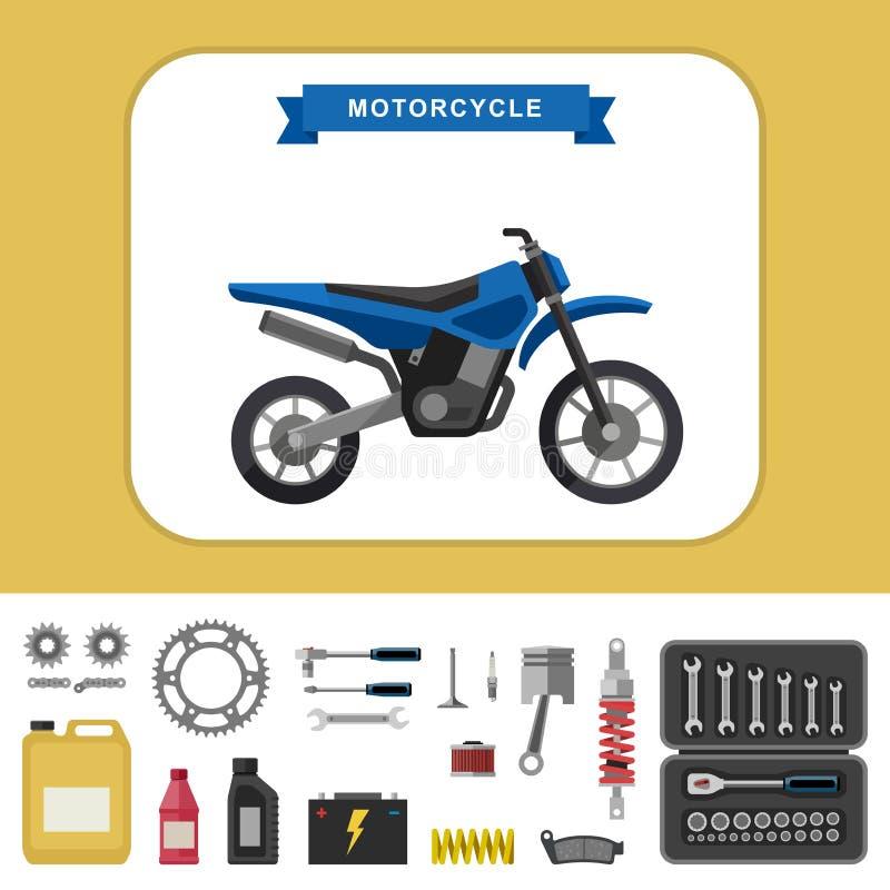 Motorfiets met delen in vlakke stijl vector illustratie