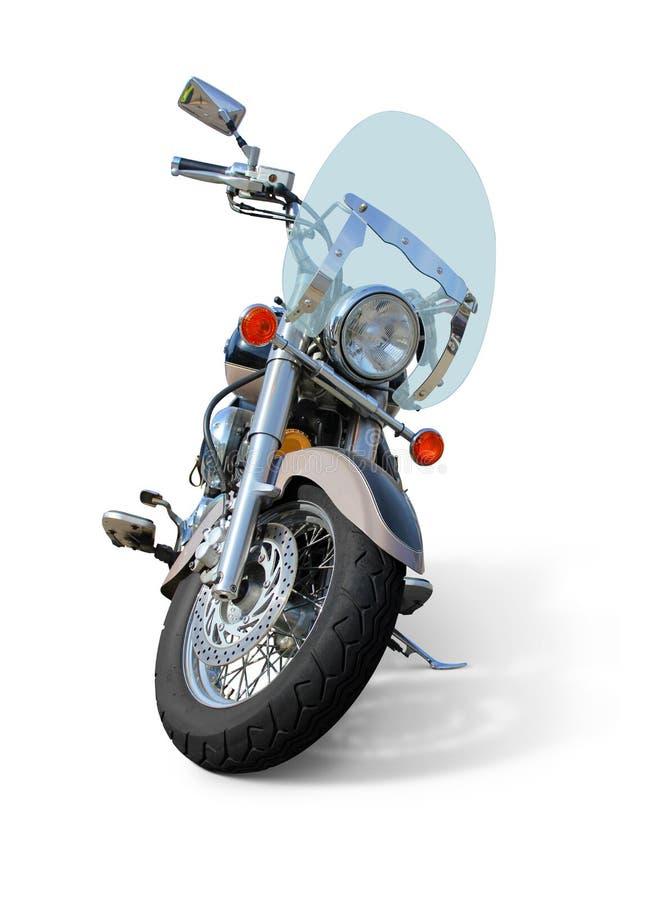 Motorfiets met windscherm vooraanzicht op wit wordt geïsoleerd dat royalty-vrije stock afbeelding