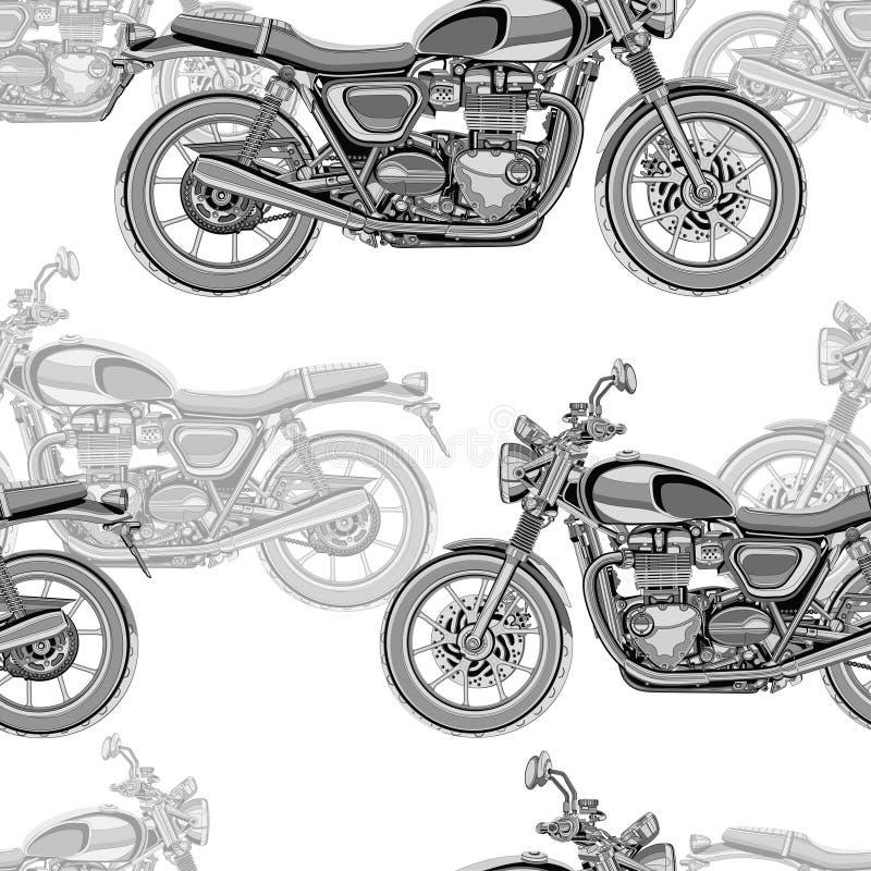 Motorfiets naadloos patroon, vectorachtergrond Zwart-wit illustratie Zwart-witte motorfietsen met vele details royalty-vrije illustratie