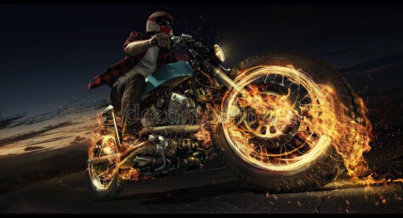 Motorfiets onderaan de weg royalty-vrije illustratie