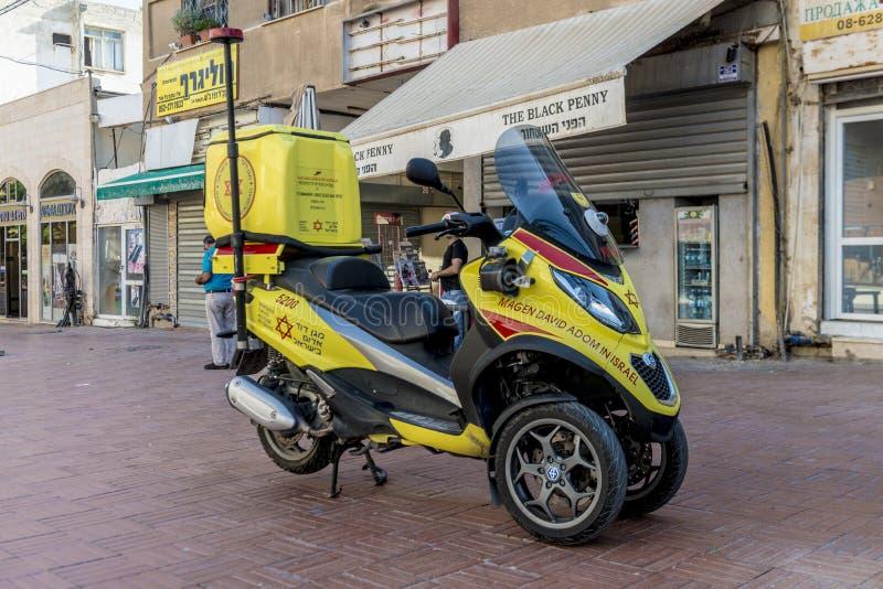 Motorfiets van de medische dienst van eerste hulp in Israël stock foto