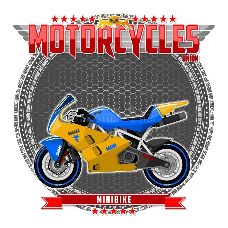 Motorfiets van een bepaald type, op een symbolische achtergrond stock foto