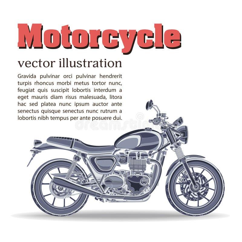 Motorfiets vector, uitstekende banner, affiche, vlieger, kaart, dekking Blauw motor helft-gezicht met vele details op een wit royalty-vrije illustratie
