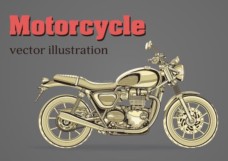 Motorfiets vector, uitstekende banner, affiche, vlieger, kaart, dekking Geel motor helft-gezicht met vele details op grijs stock illustratie
