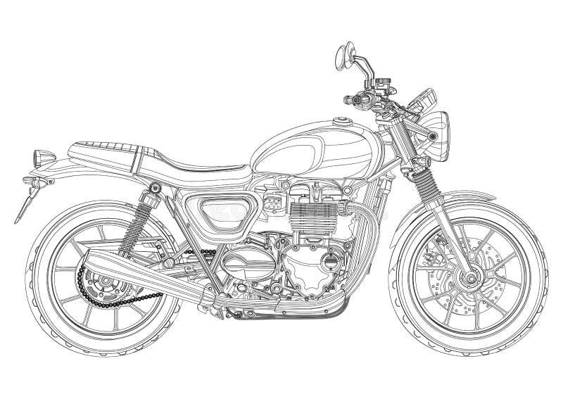 Motorfiets vector, zwart-wit, zwart-witte schets, kleurend boek Zwart de motor helft-gezicht van de overzichtstekening met royalty-vrije illustratie