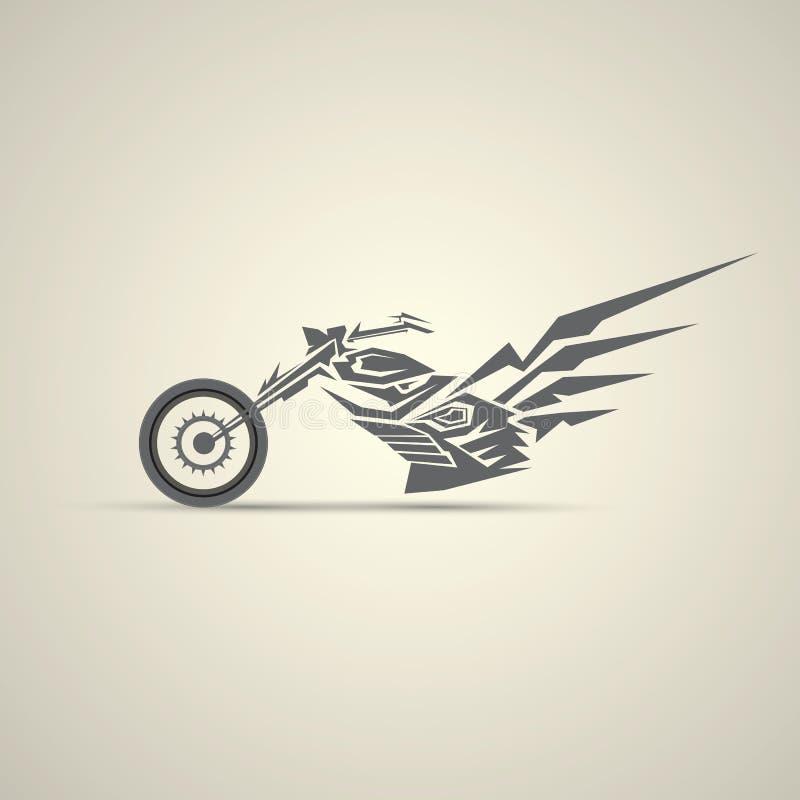 Motorfietsetiket, kenteken abstracte motorfiets vector illustratie