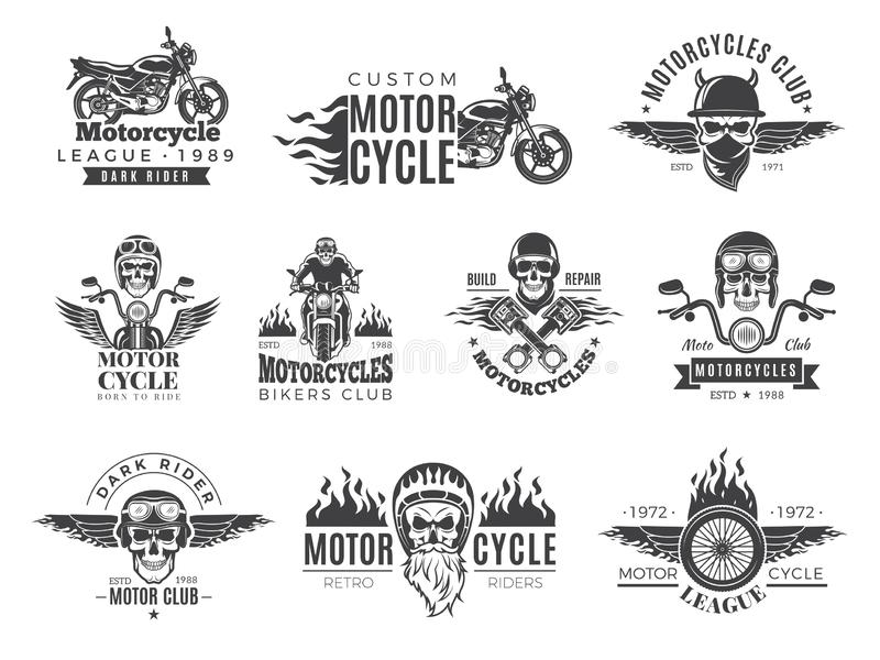 Motorfietsetiketten De fietserkentekens met de motormotor van snelheidssymbolen rennen van de bijlschedel en brand vectorbeeldeni vector illustratie