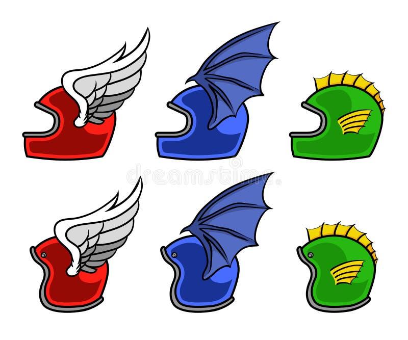 Motorfietshelm en Vleugels royalty-vrije illustratie