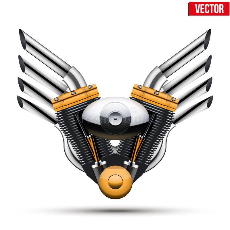 Motorfietsmotor met metaalvleugels Vector royalty-vrije illustratie