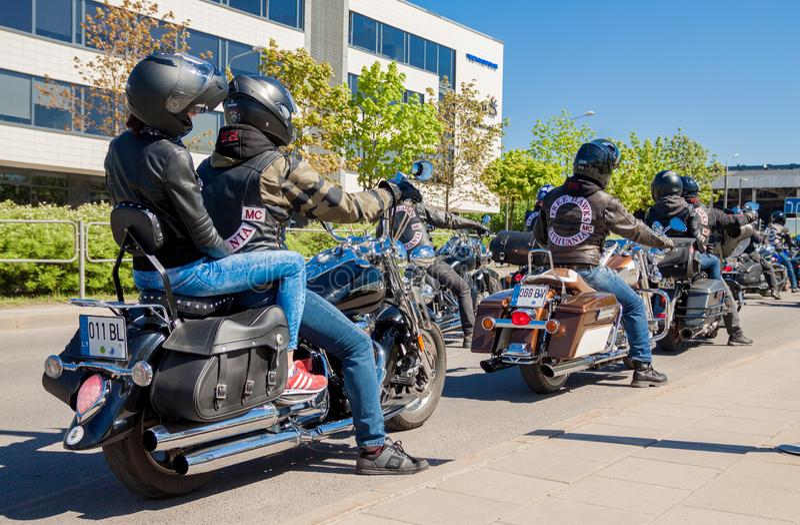 Motorfietsparade in Litouwen stock foto's