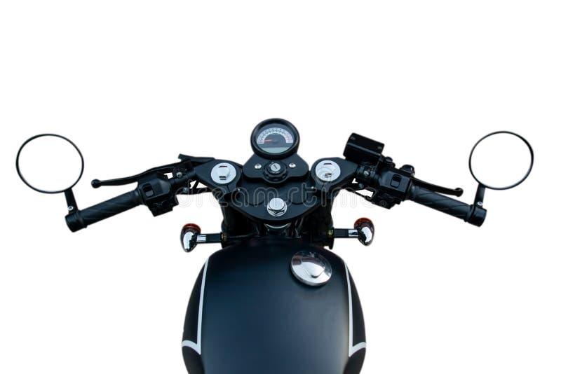 Motorfietssturen Weergeven van bestuurder op witte achtergrond met het clupping van weg wordt geïsoleerd die stock foto