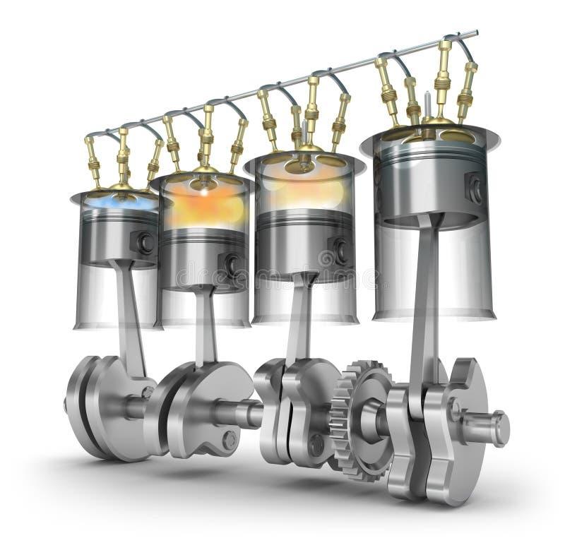 Motorfunktion - Arbeitsprinzip Stock Abbildung - Illustration von ...