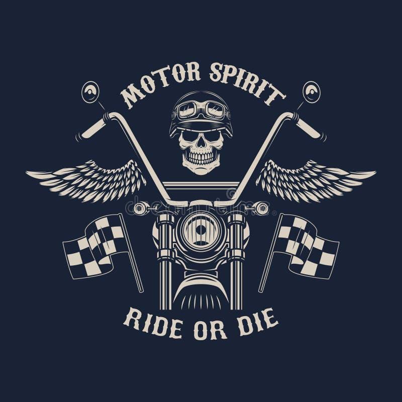 Motorgeest Rit of matrijs Motorfiets met vleugels Raceautoschedel Ontwerpelement voor affiche, embleem, teken, kenteken Vector il royalty-vrije illustratie