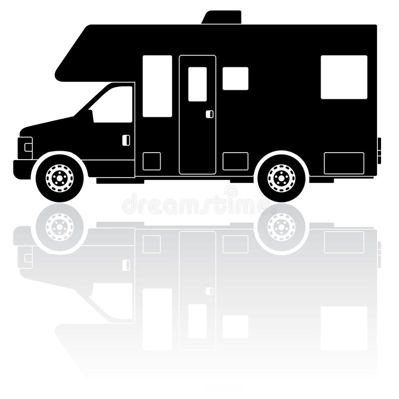Motorhome Camper silhouette vector icon royalty free illustration