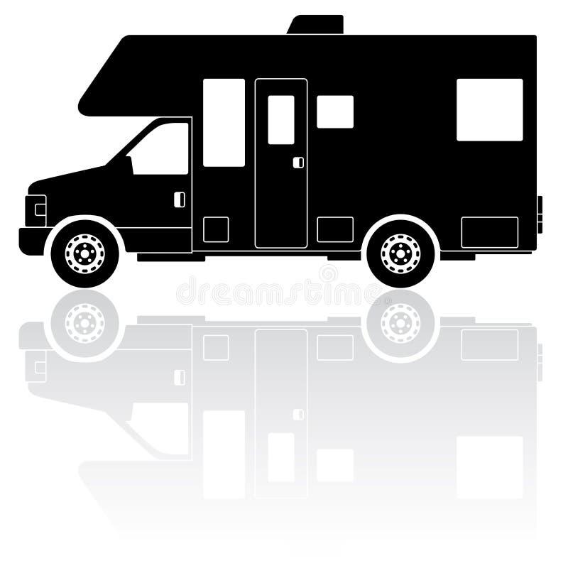 Motorhome-Camperschattenbild-Vektorikone lizenzfreie abbildung