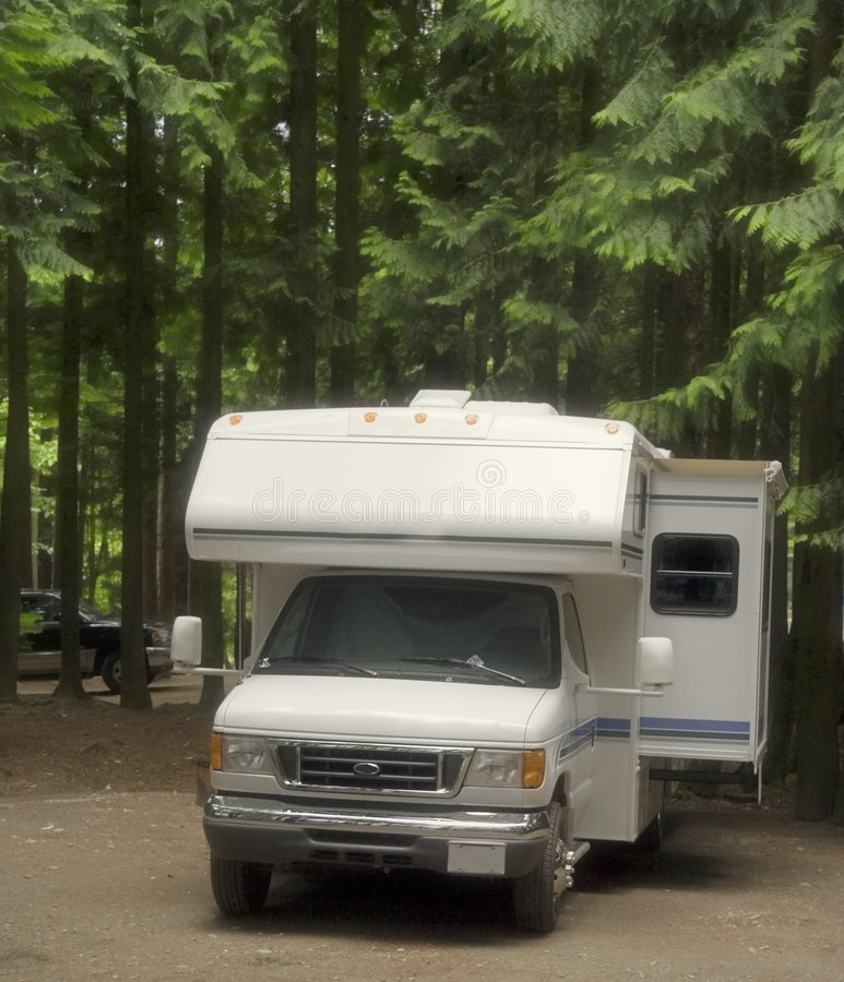 Motorhome on a campground with slide-out stock images