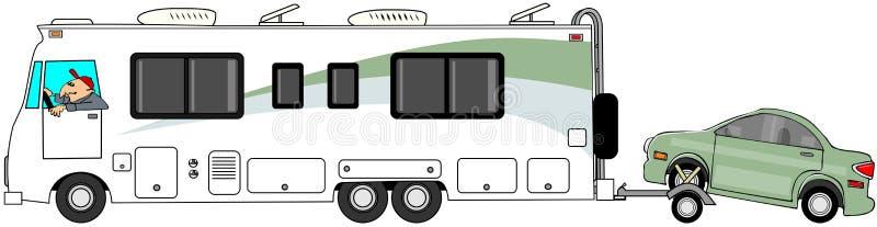 Motorhome che rimorchia un'automobile su un carrello illustrazione vettoriale