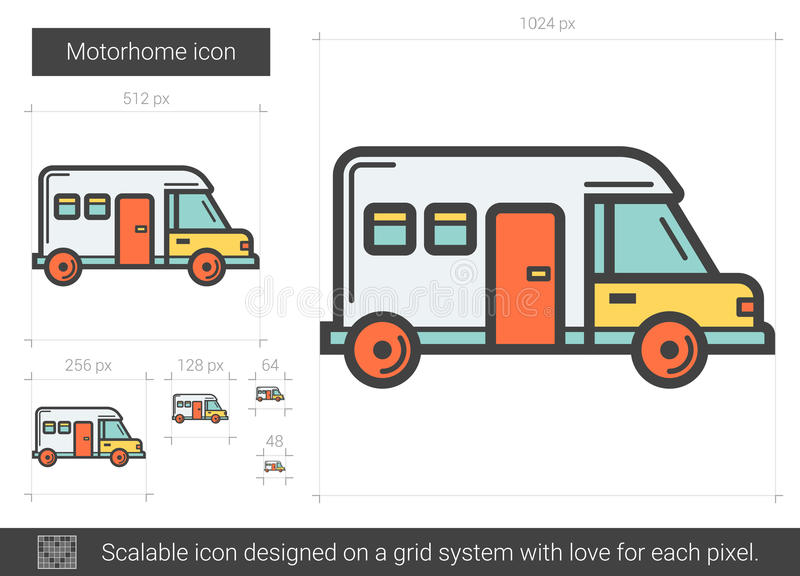Motorhome linje symbol stock illustrationer