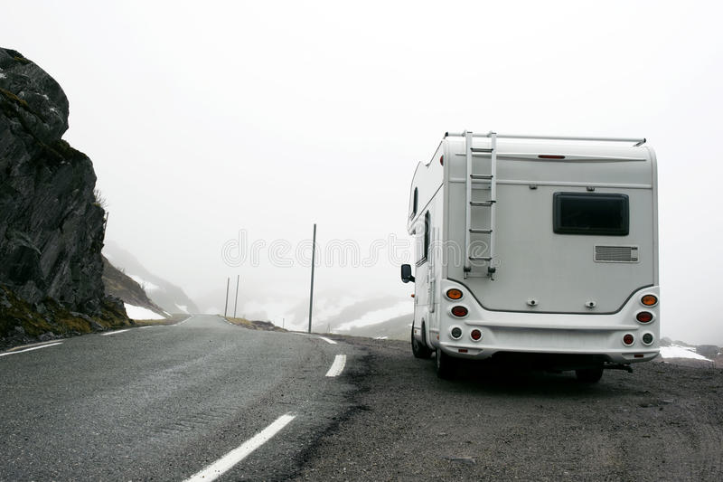 Download Motorhome In Misty Mountainous Terrain Stock Photo - Image of countryside, motoring: 22009600