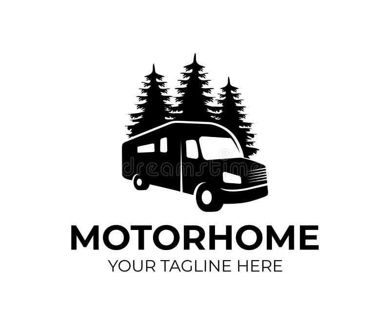 Motorhome o coche del campista del vehículo recreativo rv, plantilla del logotipo Viaje o el viajar de las vacaciones, viaje o av ilustración del vector