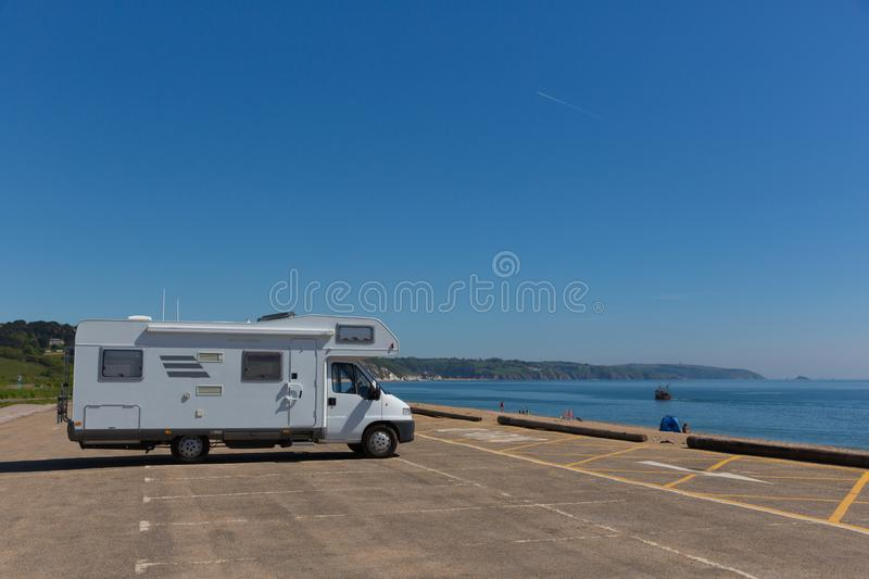 Motorhome parked in car park by the beach Slapton Sands England UK royalty free stock photos