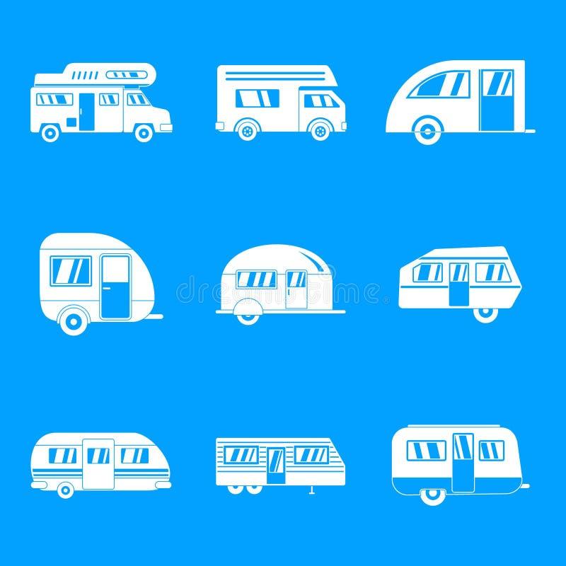 Motorhome przyczepy samochodowe ikony ustawiają, prosty styl ilustracji