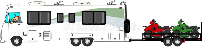 Motorhome que reboca ATV ilustração stock