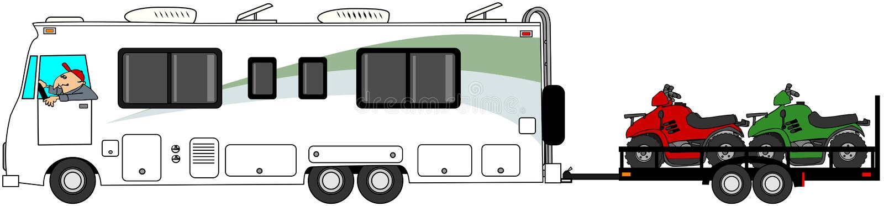 Motorhome que remolca ATV stock de ilustración