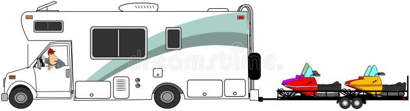 Motorhome-Schleppenschneemobil fahrung lizenzfreie abbildung