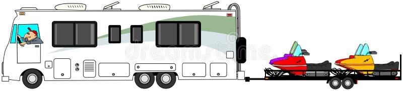 Motorhome-Schleppenschneemobil fahrung vektor abbildung