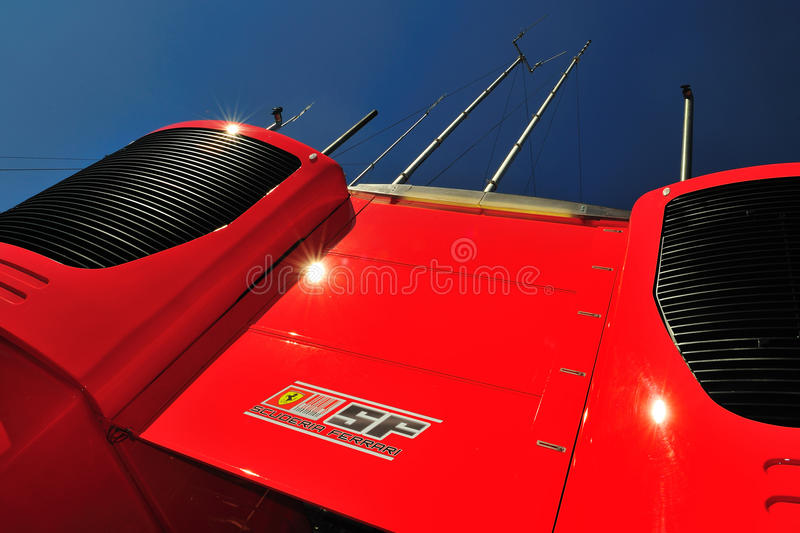 Motorhome from team Ferrari. In the Paddock and the sun on circuit Monza, italy royalty free stock image