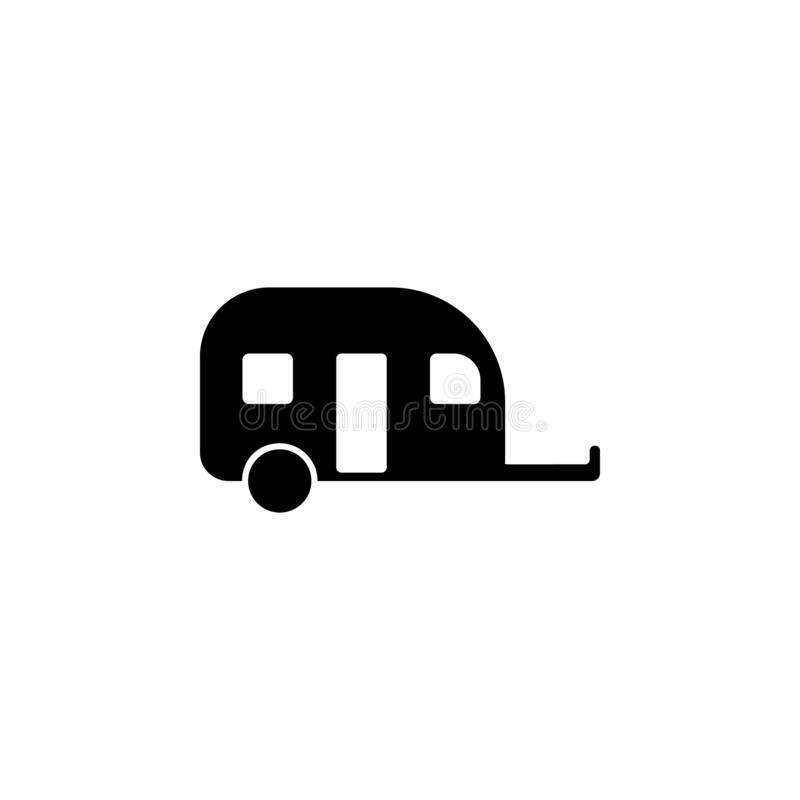 Motorhome trailer icon. Simple glyph vector of universal set icons for UI and UX, website or mobile application. On white background stock illustration